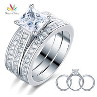 Peacock Star 1.5 Ct Princess Cut Solid 925 Sterling Silver 3 Pcs Engagement Bridal Ring Set Jewelry CFR8197