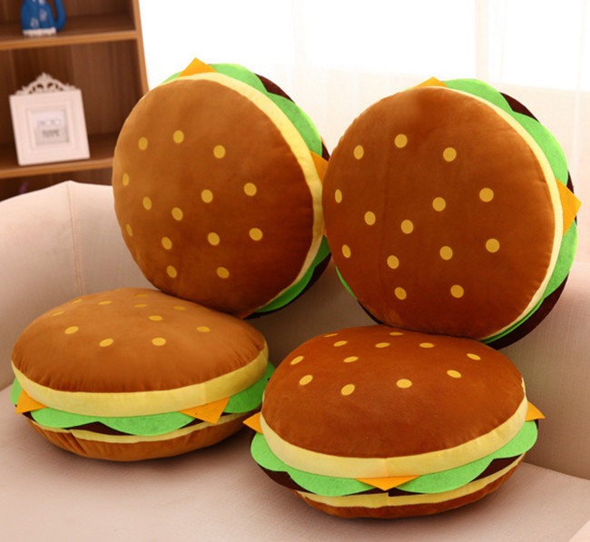 40cm Creative Pillow Hamburger Plush Office Cushion, Burger Spoof Pillow, Cute Pillow Birthday Gift Girlfriend creative rhinestone swans pattern square shape pillow for office nap without pillow inner