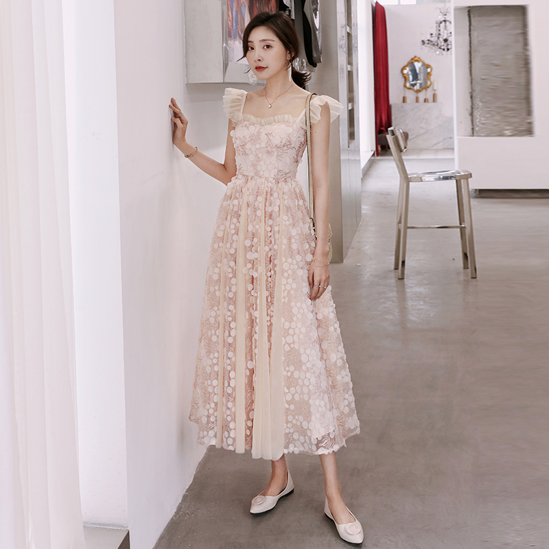 YIGELILA Women Lace Long Dress Fashion Summer Sexy Spaghetti Strap Empire Slim Pink Mesh 64901