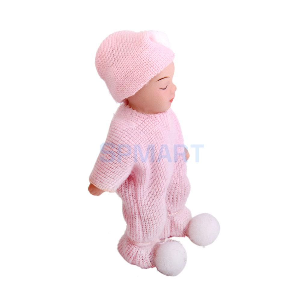Dollhouse Miniature Porcelain Dolls Cute Sleeping Baby in Pink Sweater ...