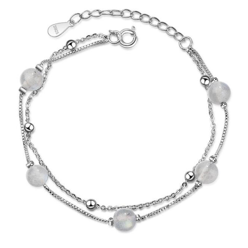 Self-Conscious Yu Xin Yuan Fashion Jewelry 925 Silver Bracelets 6mm Crystal Connection Decorations Bracelet For Women/girl Party Jewelry Fine Jewelry
