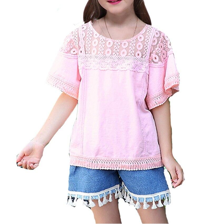 Комплекты одежды для девочек летние детские милые Повседневные комплекты одежды детская одежда кружевные топы + Джинсовые шорты 2 шт. набор...