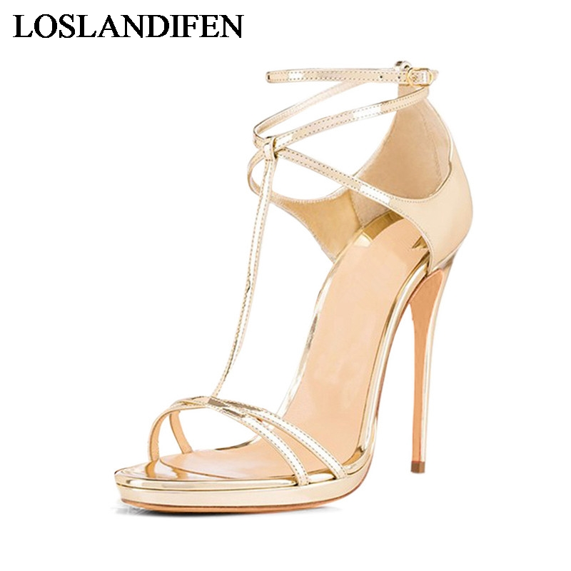 Women Summer Sandals Open Toe Thin High Heels Office Lady Shoes Fashion Gold Silver 2018 Newest Big Size TL-A0018