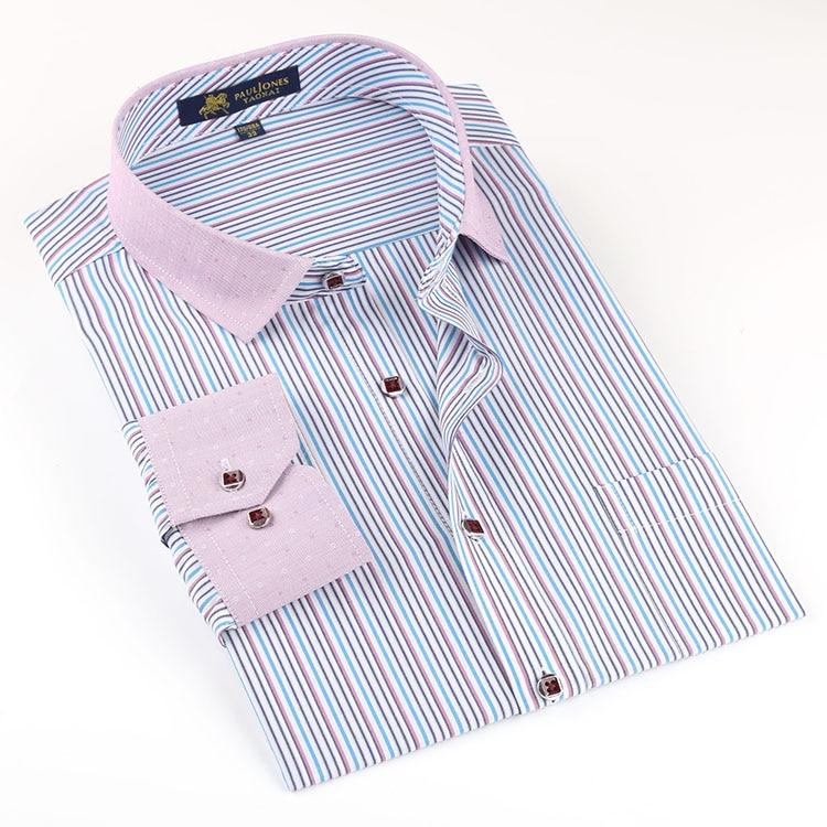 fashion Long Sleeve Men font b Shirts b font Contrast Collar Business Casual font b Formal