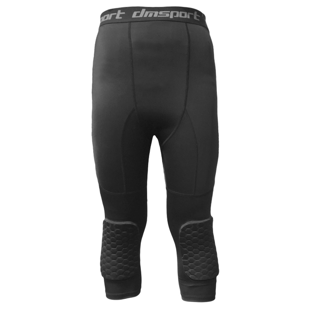 Safety Anti-Collision Basketball Shorts Men Fitness Training 3/4 Leggings With Knee Pads Sports 3XL Compression Trousers 2