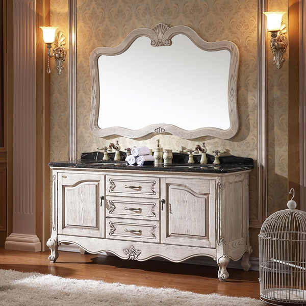 antique white ashtree solid wood cabinet and mirror, portoro marble, three  holes and two - Antique White Ashtree Solid Wood Cabinet And Mirror, Portoro Marble