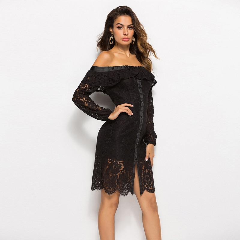 Women Mini Sheath Dresses Sexy Slash neck Long Sleeve Hollow Out Autumn Club Ladies High Waist Black Dresses Femme New Arrivals in Dresses from Women 39 s Clothing