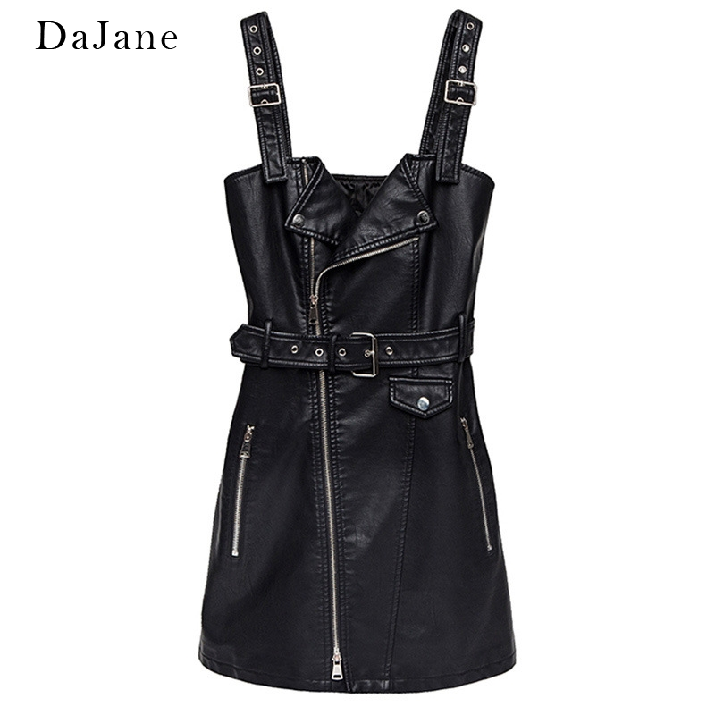 Female PU Motorcycle   Leather   Skirt Dress New Korean Version Of The Waist A Word Skirt High Waist Buckle With Strap Skirt Vest