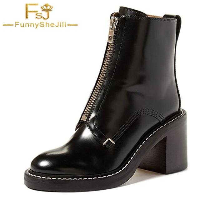 c5d9c8b930a52 Negro Para Mujer de Charol Tacones Altos Cuadrados Botines Casuales Otoño  al aire libre Zapatos de
