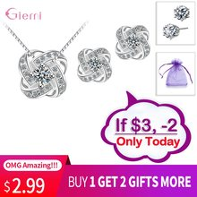 Best Recommended Jewelry Sets Women Gem Stone Cubic Zirconia Stud Earrings 925 Sterling SilverBox Chain Necklaces(China)