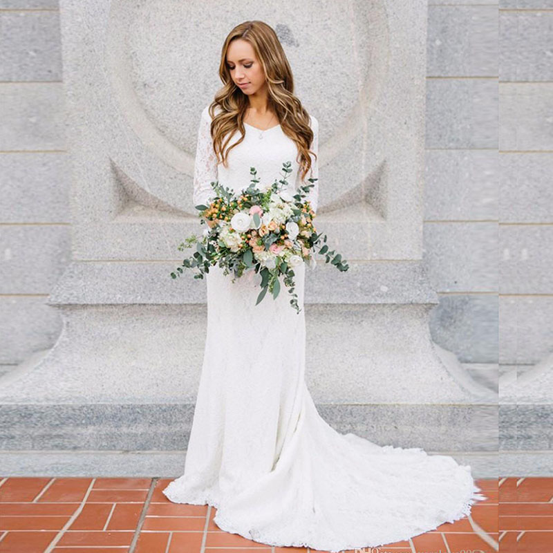 LORIE Boho Wedding Dress with Long Sleeve V Neck Lace Mermaid White Ivory Beach Bridal Gown