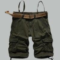 2017 Hot sprzedaż cargo szorty mężczyźni 100% Bawełna Lato marki Mody Dorywczo kamuflażu mężczyzna odzieży zieleń wojskowa kieszeni Plus size30-38
