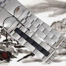 Correa de reloj de reemplazo para Swatch YCS410GX 482 501 485G 564G 19mm Negro metal Broche de mariposa de acero inoxidable correa