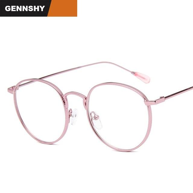 e02e3dd3a5 2018 New Trend Korean Optical Frame Retro Big Frame Eyeglasses Fashion  Artistic Metal Glasses Frame Double Colors Pink Frame