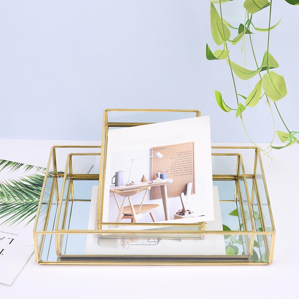 Organizer Copper Bins Jewelry Storage-Boxes Decoration Bathroom Cosmetics Glass Plate