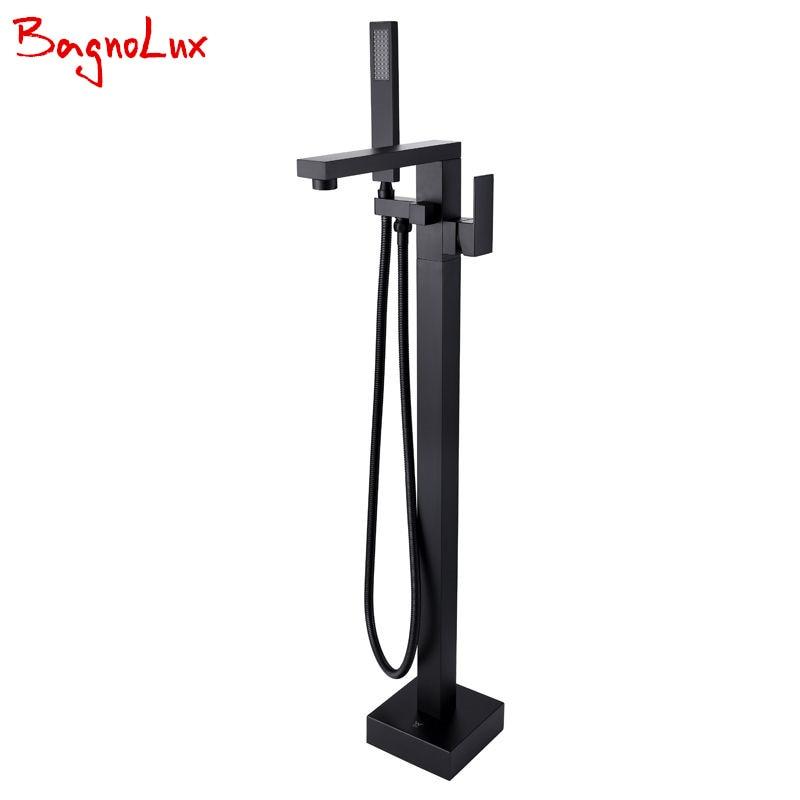 Bagnolux Wholesale Matte Black Square Freestanding Bath Spout Shower Faucet Mixer Tap Floor Mounted Single HandleBathtub Filler