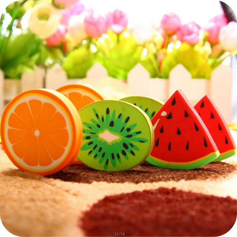 1pc lot Sweet Fruit Slice Shape Eraser Watermelon Grape Kiwi Fruit Erasers Kawaii Stationery Student Gift Office School Supply in Eraser from Office School Supplies