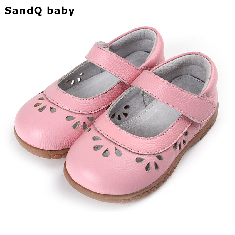 2019 Summer Genuine Leather Kids Sandals Hollow Out Soft Bottom Children Casual Shoes Girls Princess Shoes Baby Toddler Shoes