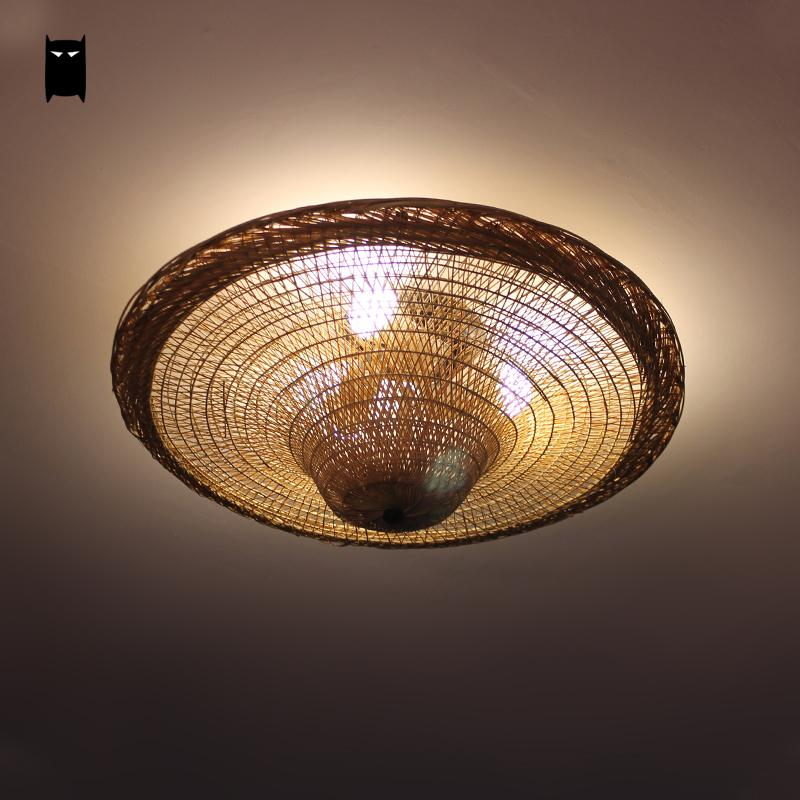Bamboo Wicker Rattan Straw Hat Shade Ceiling Light Fixture