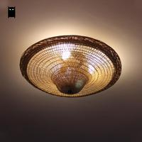 Bamboo Wicker Rattan Straw Hat Shade Ceiling Light Fixture Vintage Industrial Retro Rustic Country Lamp Restaurant Kitchen Room