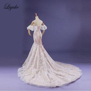Image 3 - Liyuke Fabulous Dropped Waistline Mermaid Wedding Dress Court Train Inner Champagne Off The Shoulder Bridal Dresses