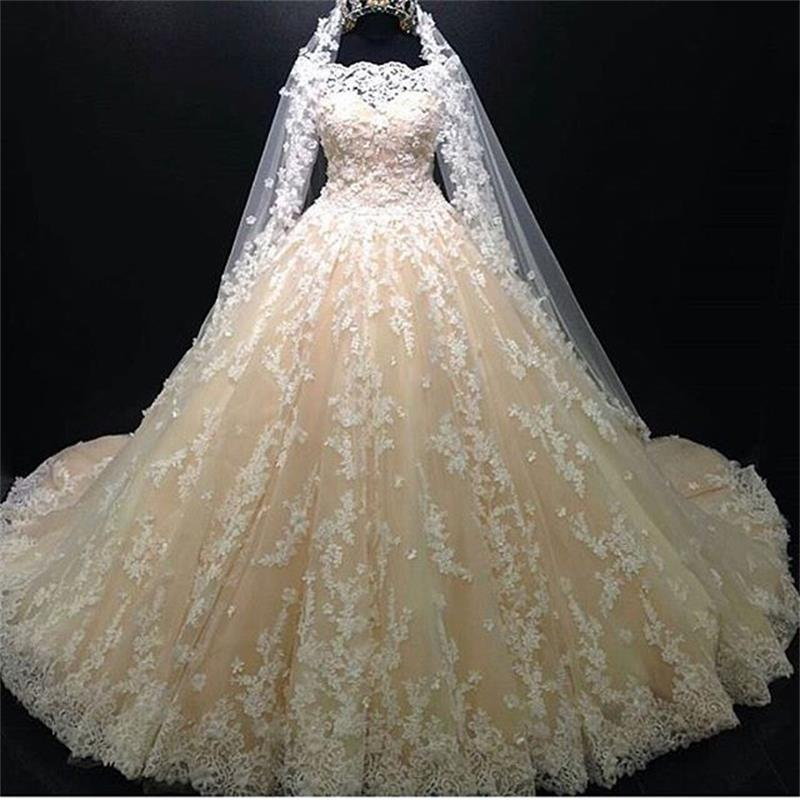Luxury Ball Gown Champagne Wedding Dresses 2019 Long Sleeve Lace