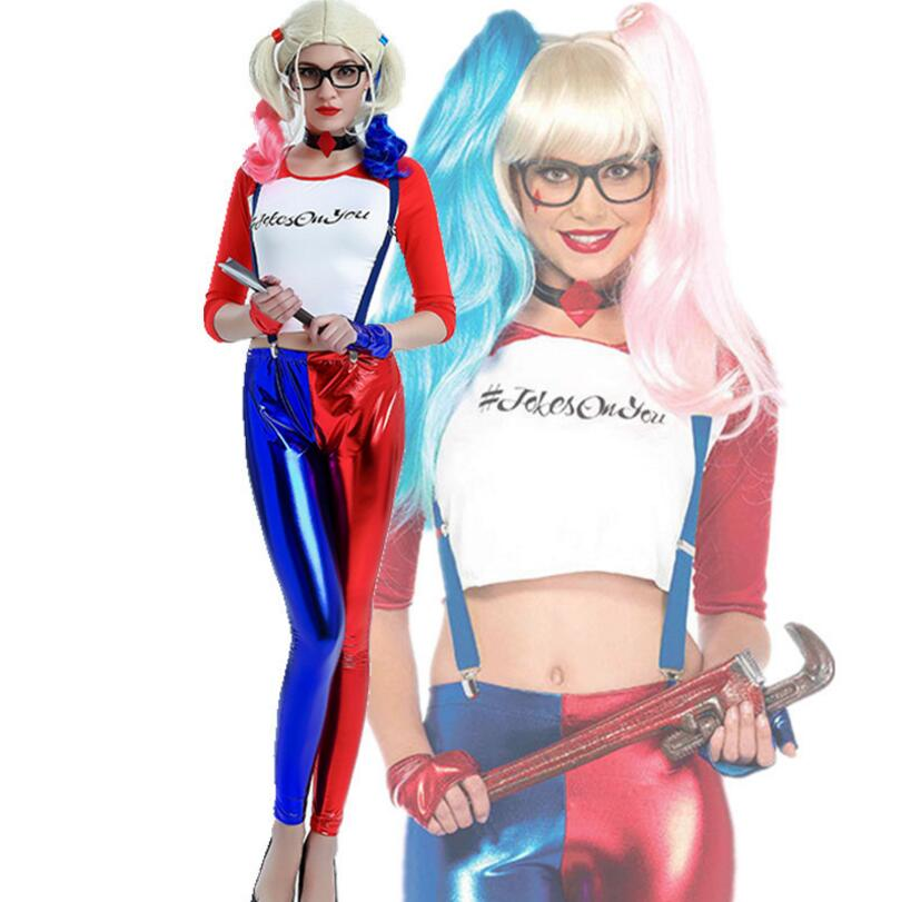 2018 New Halloween Adult Women Harley Quinn Suicide Squad Team Anime Cosplay Costumes Fancy ...