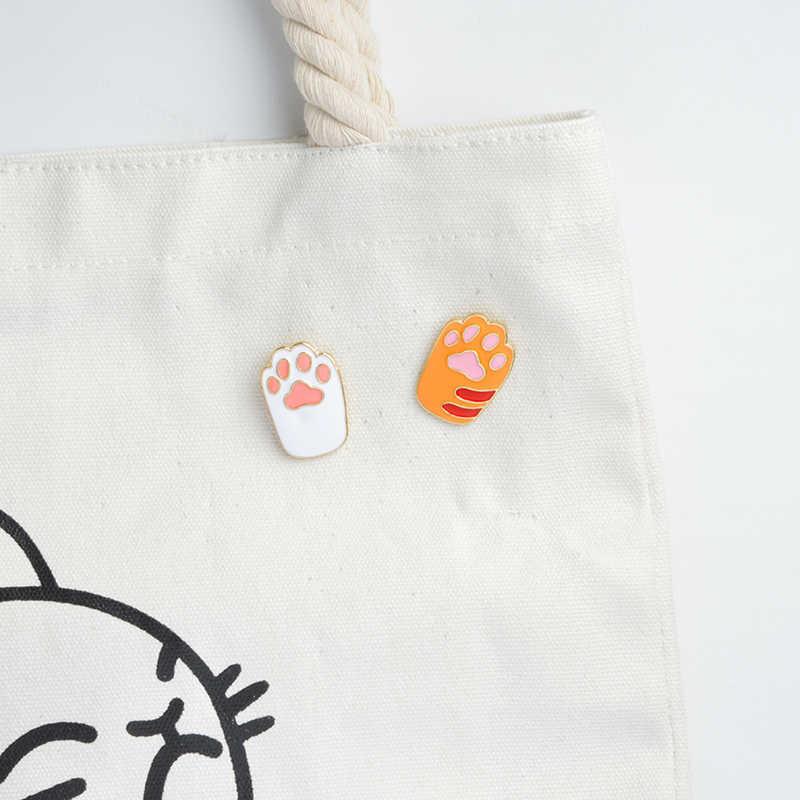 Мультфильм милый узор в виде лапы животного кошка брошь в виде следов эмаль четыре цвета котенок отпечаток лапы животного любовника рюкзак жакет DIY ювелирные изделия подарок для детей