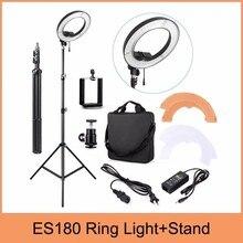 "ES180 180 LED 18 ""Steplessปรับแหวนกล้องแสงภาพ/วิดีโอ180ชิ้นLED 5500พันหรี่แสงได้+โทรศัพท์หนีบ+ยืน"