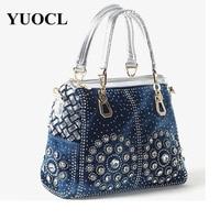 2018 crossbody bags for women leather handbags luxury handbags women bags designer denim Crystal Diamond tote bag sac a main