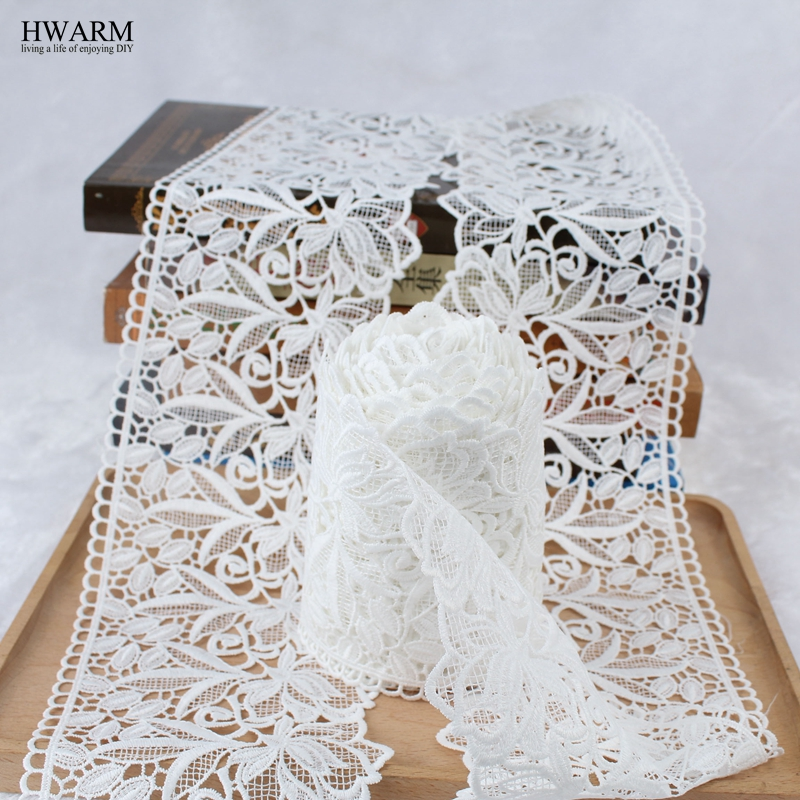 white african lace fabric ribbon wedding decoration trim 20yard New Unilateral Wide Milk Silk Watersoluble Embroidery