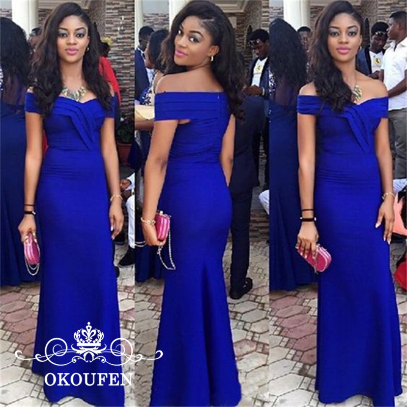 OKOUFEN Boat Neck Mermaid   Bridesmaid     Dresses   2018 Royal Blue Satin Robe De Soiree Long Maid Of Honor   Dress   Party Gown For Women