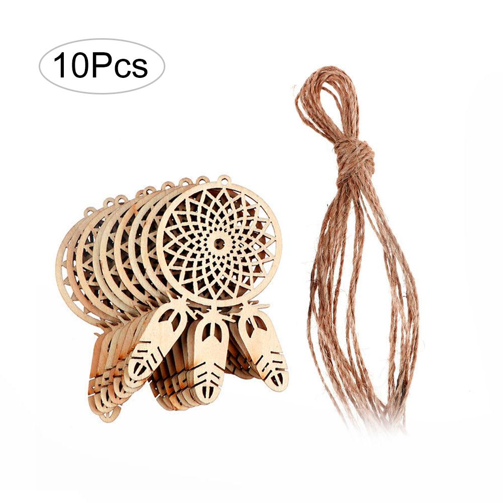 10pcs/lot Wooden Dream Catcher Feather Decoration Good Luck Mini Dreamcatcher Ornament Hanging Home Decoration