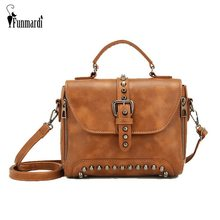 FUNMARDI Crossbody Bags For Women Messenger Bag Vintage PU Leather Handbag Women Famous Brand Rivet Small Shoulder Bags WLHB1809(China)