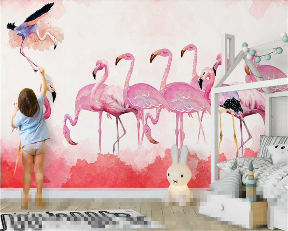 beibehang Decorative painting wall paper modern minimalist hand-painted flamingo personality 3d wallpaper Nordic backdrop behang