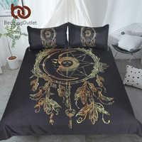 BeddingOutlet Dreamcatcher Bedding Set Golden Black Bohemian Duvet Cover With Pillowcases 3-Piece Sun and Moon Exotic Bedclothes