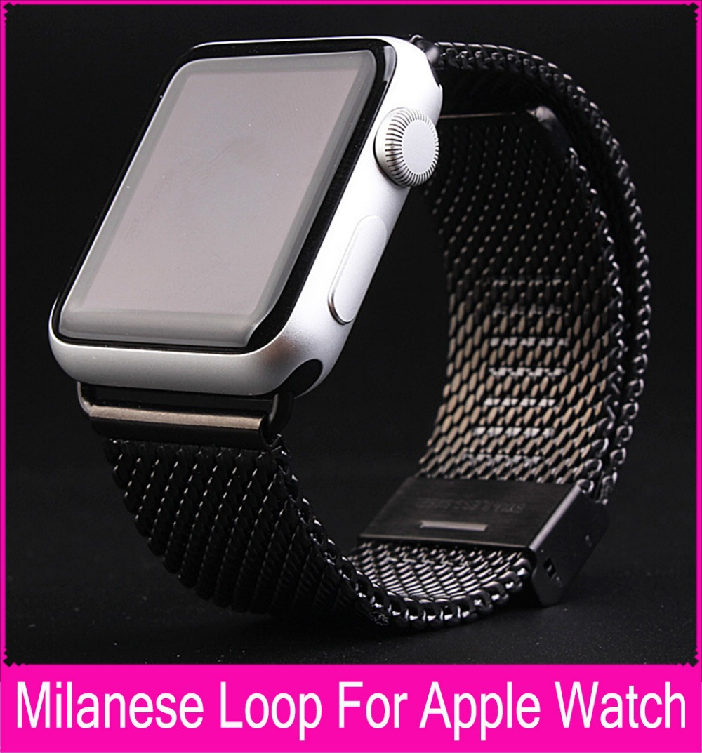 Milanese loop watch band stainless steel mesh wraps for Apple Watch magnetic closure clasp bracelet strap 38mm 42mm iwatch band genuine leather loop band for apple watch band 42mm 38mm strap bracelet for iwatch series 1 2 3 adjustable magnetic closure belt
