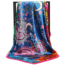 New Arrival Fashion Women soft satin scarf / Paisley Printed quare silk scarves 90cm Gifts Wholesale