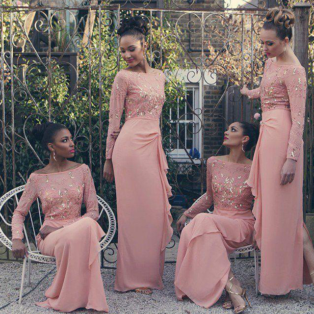 2017 New Arrival Pink Chiffon Long Bridesmaid Dresses With Sleeve Sequins Beaded Wedding Party Dress