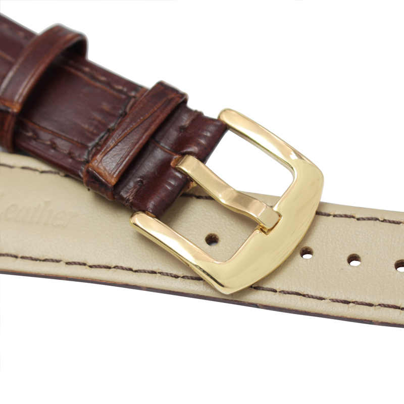 Watchbands גברים שחור חום אמיתי עור רך רצועת שעון להקת כסף זהב מתכת פין אבזם אביזרי 19mm 20mm 21mm 22mm