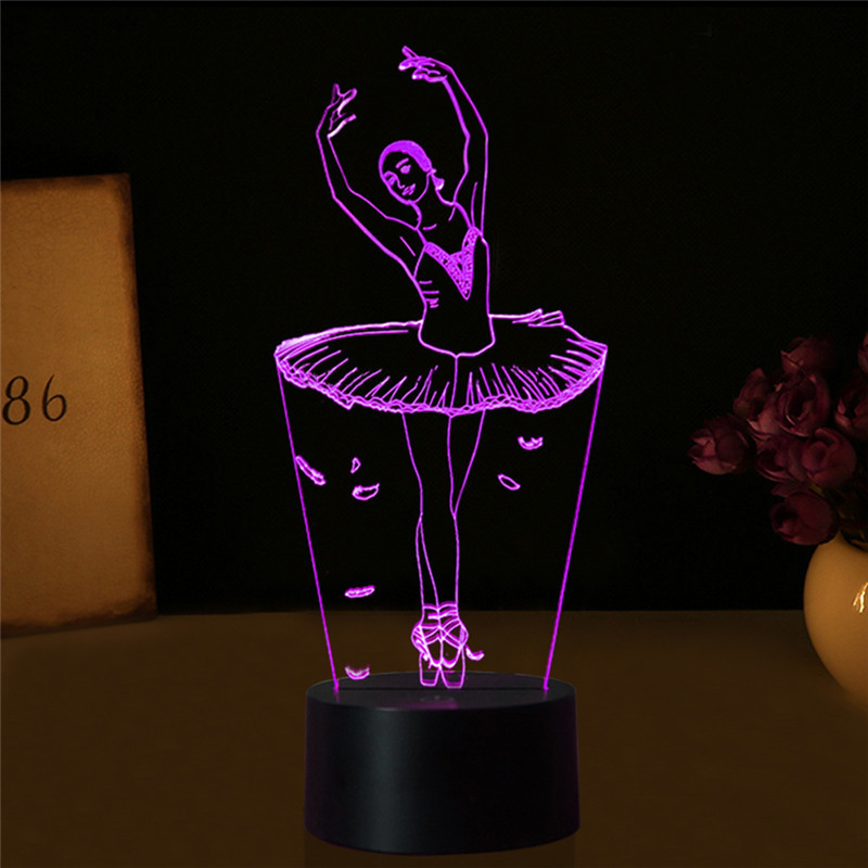 LAIDEYI 3D Illusion Lamp Ballet Girl LED USB 3D Night Lights 7 Colors Changable Novelty LED Table lamp for Bedroom Decorations