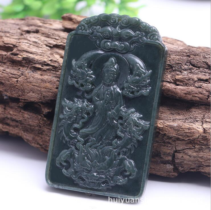 TJP natural carved tame Dragon GUANYIN HETIAN jade pendant China QINGYU necklace pendants with bead rope necklaceTJP natural carved tame Dragon GUANYIN HETIAN jade pendant China QINGYU necklace pendants with bead rope necklace