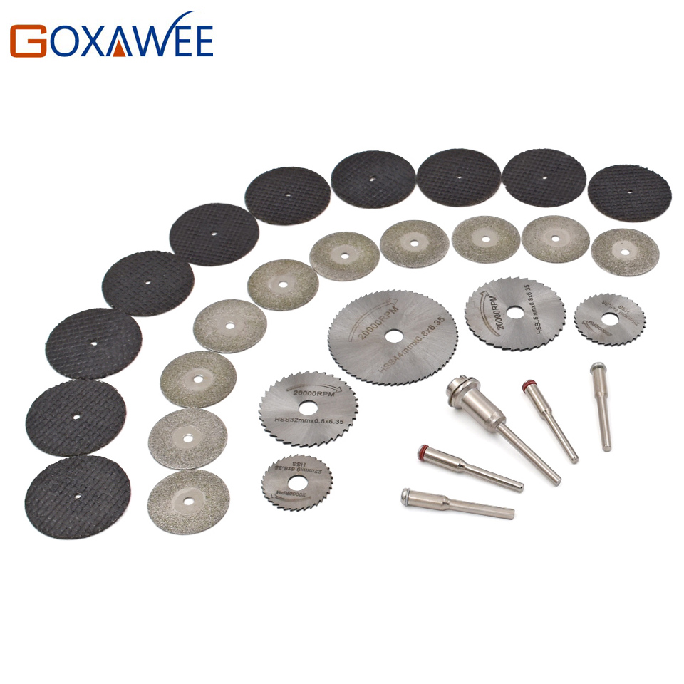цена на 30pcs Dremel accessories HSS Circular Saw Blades Wood Metal Stone Cutting Saw Blade Discs with Mandrel for Dremel Rotary Tools
