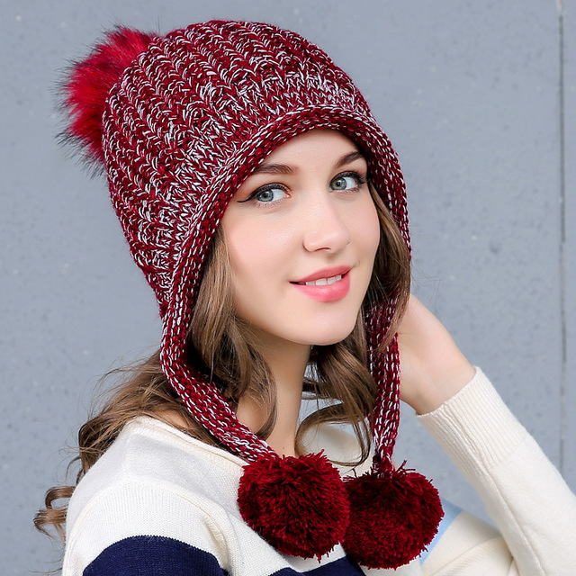 41726bd681d Fashion Women Beanies Winter Hat with Ears Warm Beanie Girl Hats with Top  Ball