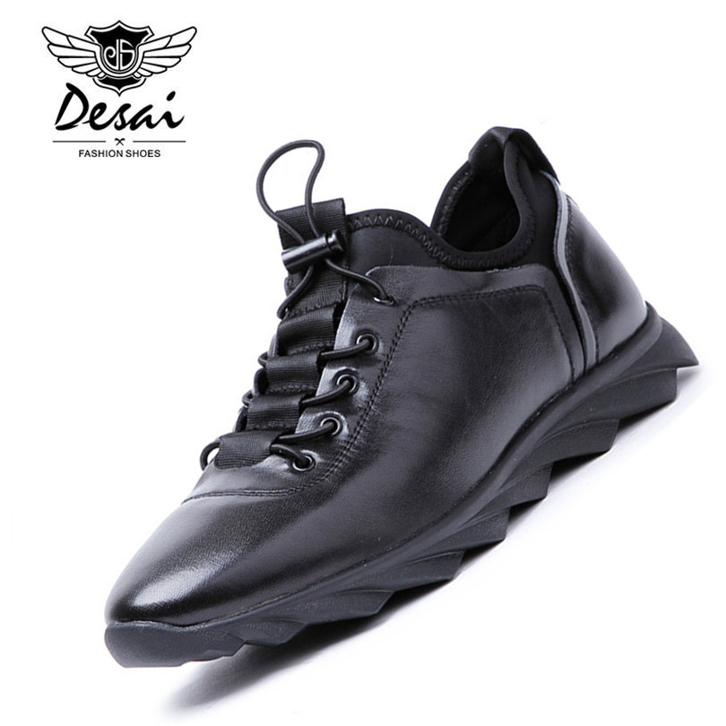 DESAI Brand Italian Designer Men Shoes Genuine Leather Men's Casual Trainers Shoes Elastic Band Shoes Black Sneakers Size 38 43