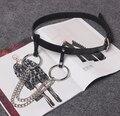 KIKIMOLY Women Fashion Gothic Punk Rock Two Metal Circle Ring Chain Designer Waist Belt