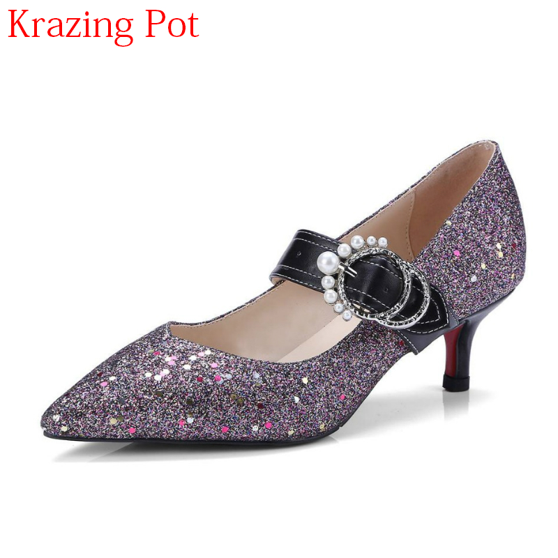2018 Superstar Sequined Cloth Vintage Pearl Pointed Toe Med Heels Shallow Wedding Buckle Bling Wedding Party Women Pumps L53