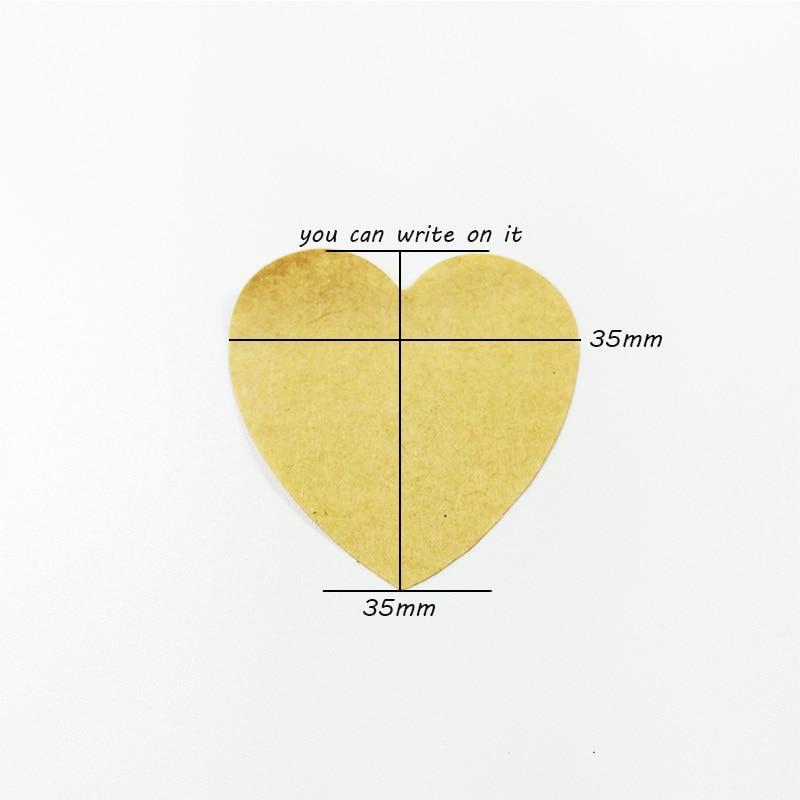 Купить с кэшбэком 100pcs/lot Heart-shaped Blank Kraft Paper Seal Sticker For Handmade Packaging Label DIY Self-adhesive Stickers Scrapbooking