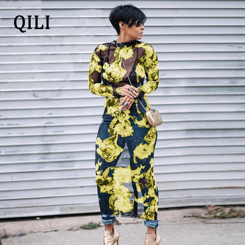 QILI Plus Size Mesh Dress Women Long Sleeve Printed Pencil ...