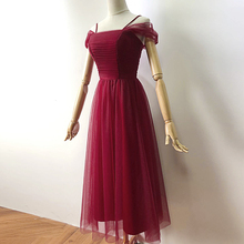 Wine Red Colour Midi Dress Sexy Dress  Bridesmaids Dresses for Women  Wedding Party Back of Zipper